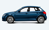 Blue hatchback car