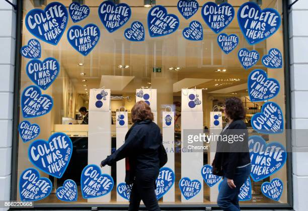 Blue hearts with the words 'colette i was here 19972017' are displayed in the store window of the colette concept store on October 25 2017 in Paris...