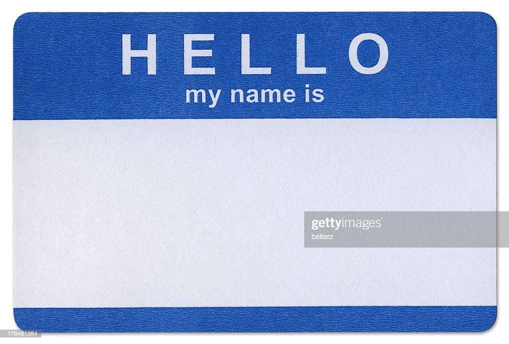 Blue Hello sticker template in white background : Stock Photo