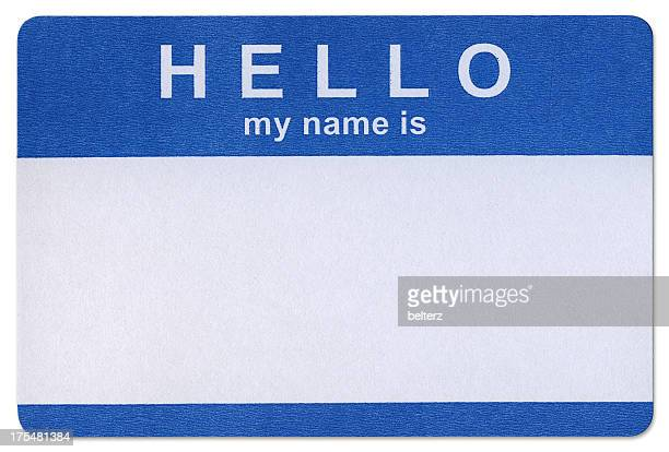 blue hello sticker template in white background - identity stock photos and pictures