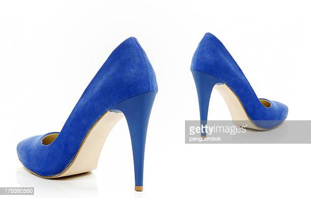 blue high heels shoes - blue shoe stock pictures, royalty-free photos & images