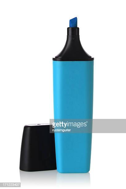 a blue highlighter pen against white background - highlights stock pictures, royalty-free photos & images