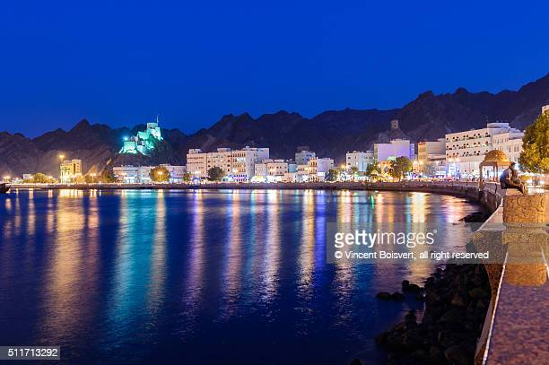 Blue hour along the cornice of Mutrah area, Muscat, Oman