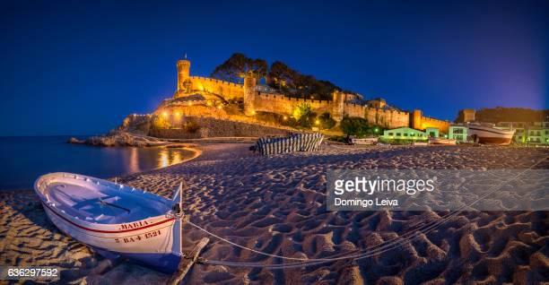 Blue hour at the beach in Tossa de Mar, Girona, Catalonia, Spain