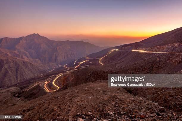 blue hour at the top of jabel al jais - ras al khaimah stock pictures, royalty-free photos & images