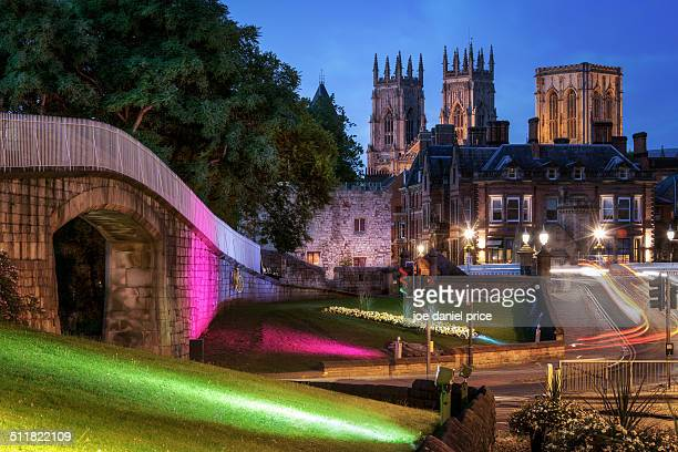 blue hour at york minster, york, england - minster stock photos and pictures