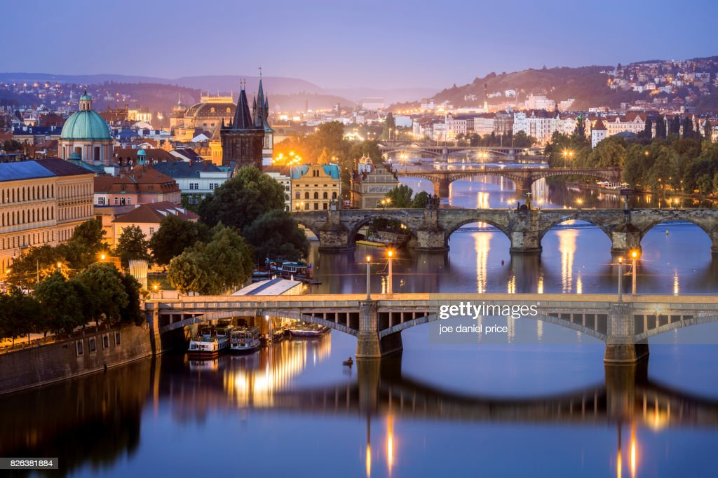 Blue Hour, Bridges, Vltava River, Prague, Czechia : Stock Photo