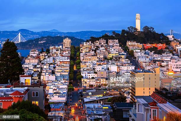 Blue Hour, Coit Tower, Bay Bridge, Street, San Francisco, California, America