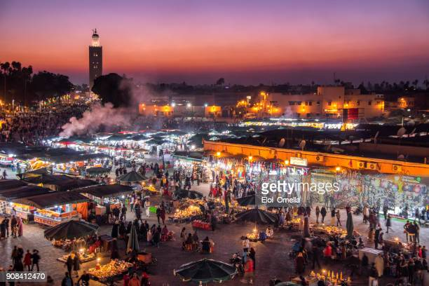 blue hour Djemaa El Fna Square Koutoubia Mosque Marrakech Morocco
