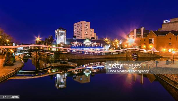 blue hour in birmingham - birmingham england stock photos and pictures