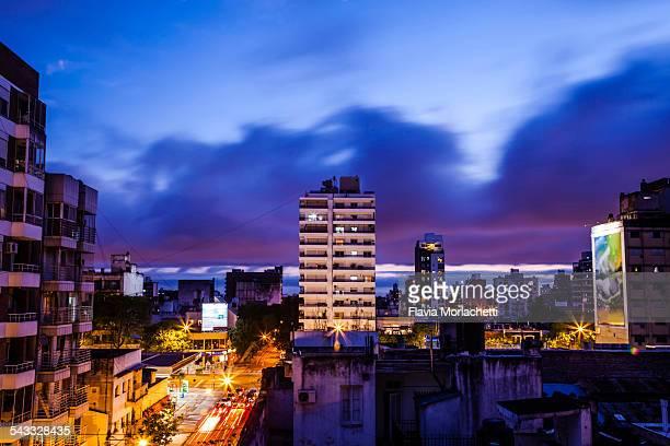Blue hour in Rosario city, Argentina