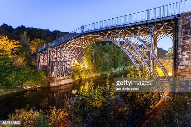 blue hour, ironbridge, shropshire, england - ironbridge shropshire stock pictures, royalty-free photos & images