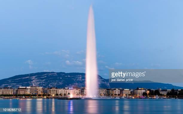 Blue Hour, Jet d'Eau, The Geneva Water Fountain, Geneva, Switzerland
