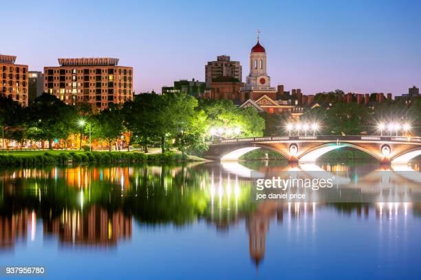 blue hour, john w. weeks bridge, dunster house, havard university, cambridge, boston, massachusetts, america - harvard stock photos and pictures