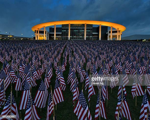 CONTENT] Blue hour just before sunrise at The Long Center with 7000pcs of American flags in memory of our fallen heroes Austin Texas
