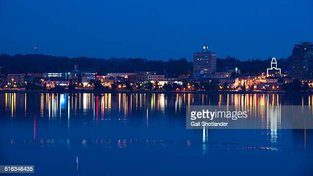 blue hour lights of barrie - barrie stock pictures, royalty-free photos & images