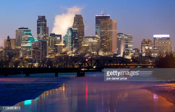blue hour, minneapolis, minnesota, america - minneapolis stock photos and pictures