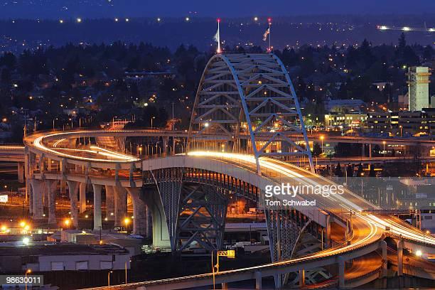 blue hour on the fremont bridge - portland oregon stock pictures, royalty-free photos & images