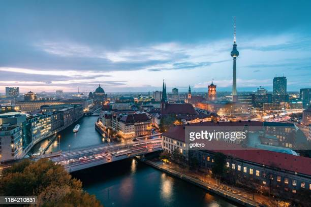 blue hour over berlin cityscape - central berlin stock pictures, royalty-free photos & images