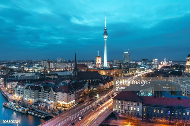 blue hour over berlin cityscape - berlin stock pictures, royalty-free photos & images