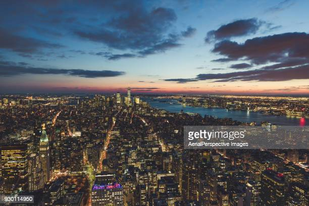 Blue hour over Downtown Manhattan at Dusk