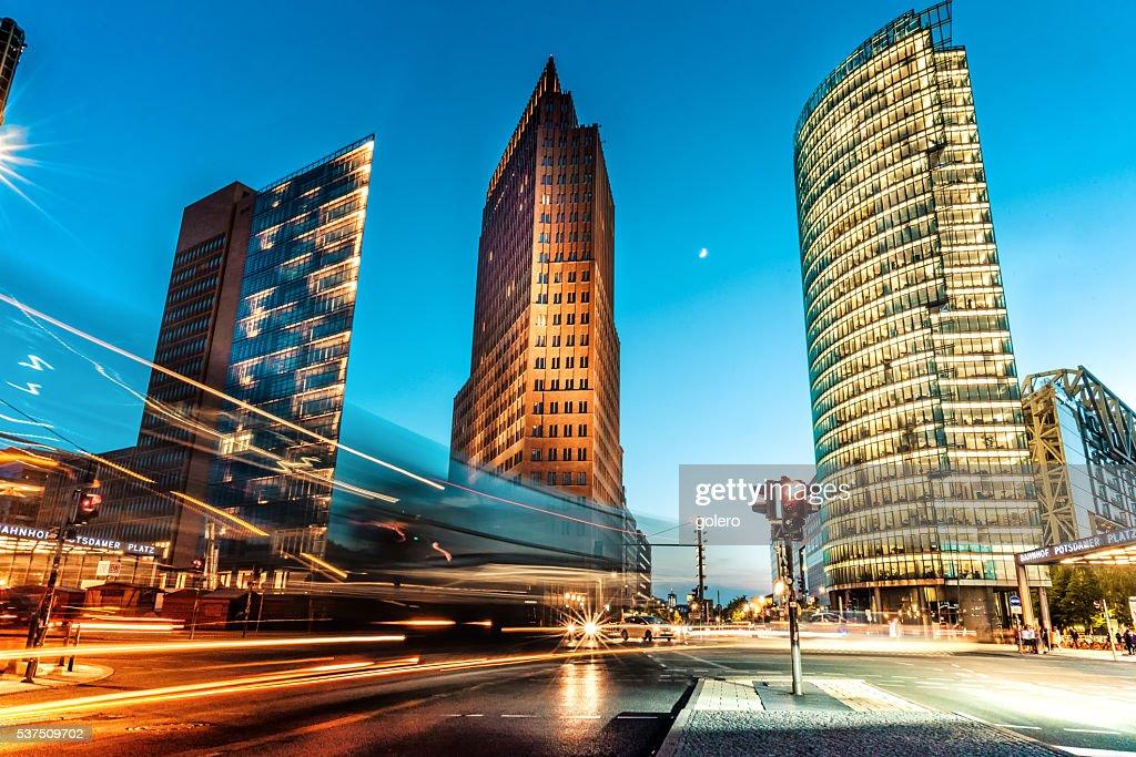 blue hour over Postdamer Platz in Berlin : Stock Photo