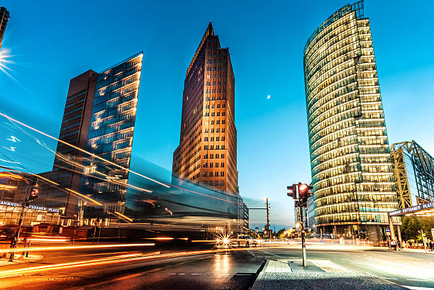 blue hour over postdamer platz in berlin - germany stock pictures, royalty-free photos & images