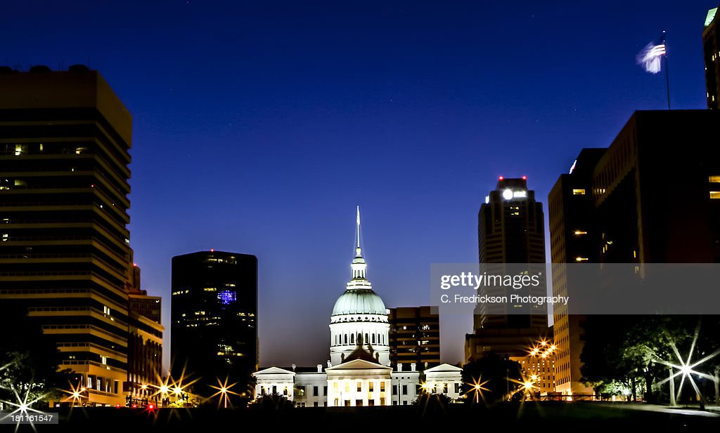 Blue hour over St. Louis : Stock Photo