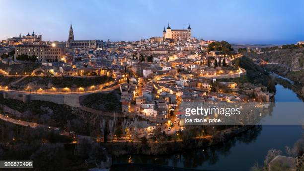 blue hour, panorama, alcázar de toledo, toledo, spain - segovia stock pictures, royalty-free photos & images