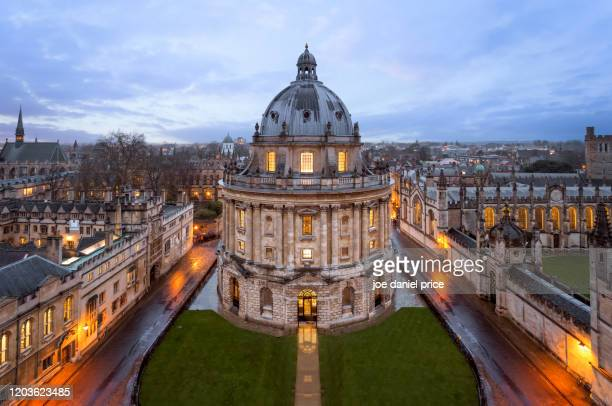 blue hour, radcliffe camera, oxford, england - oxford university stock pictures, royalty-free photos & images