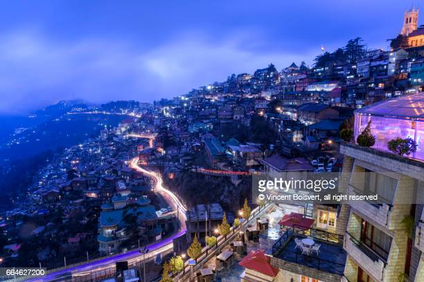 blue hour, shimla, himachal pradesh, india - shimla stock pictures, royalty-free photos & images