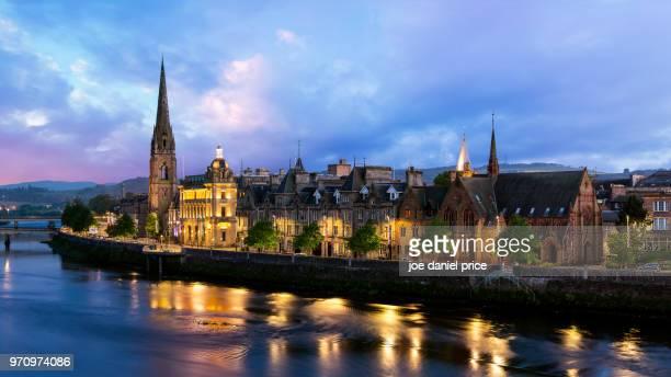 blue hour, skyline, st matthews church of scotland, perth, scotland - perth scotland stock pictures, royalty-free photos & images
