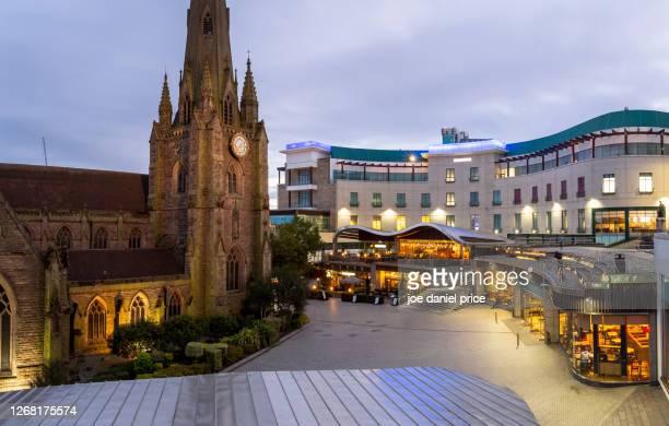 blue hour, st martin, bullring, birmingham, england - birmingham england stock pictures, royalty-free photos & images