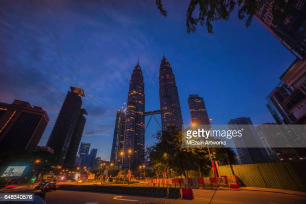 Blue hour sunrise at Kuala Lumpur city busy junction