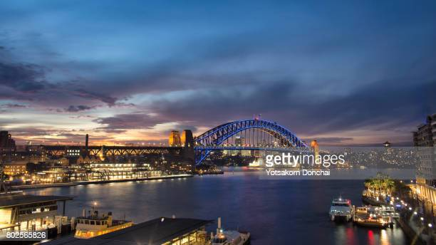 Blue hour sunset over Sydney Harbour Bridge, Australia