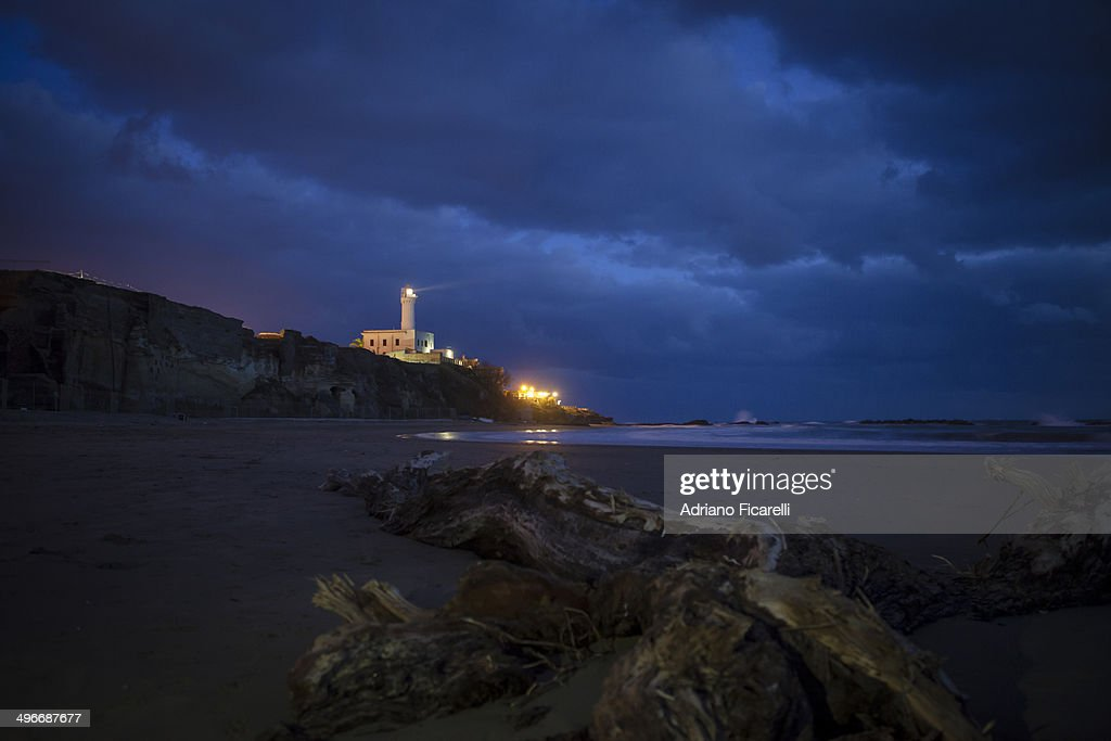 Blue hour under the lighthouse : Stock Photo