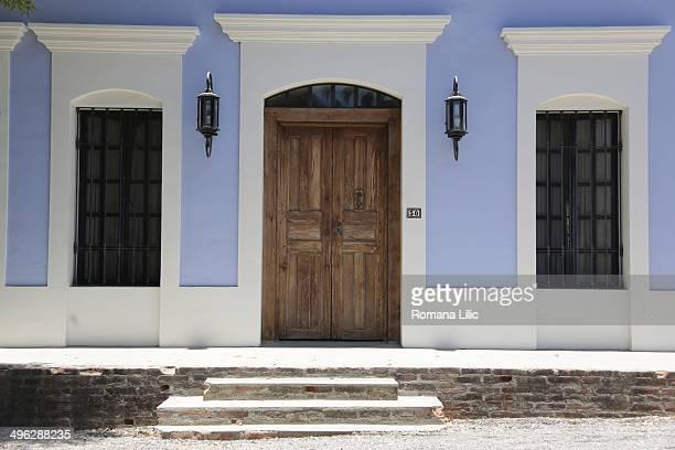 Blue house facade in Todos Santos Pueblo Magico Baja California Sur Mexico