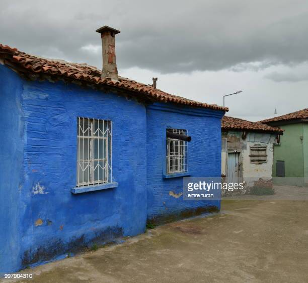 blue house in tire