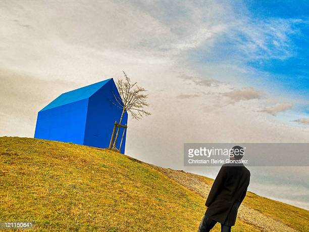 blue house - christian beirle stock pictures, royalty-free photos & images