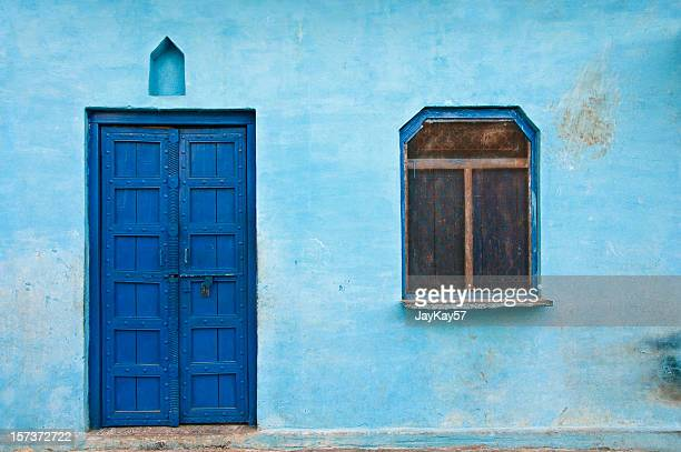 blue house - village stock pictures, royalty-free photos & images