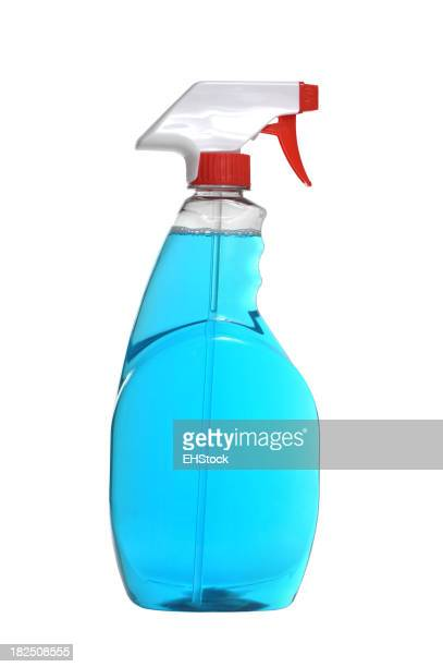 Blue Household Glass Cleaner Spray Bottle Isolated on White Background