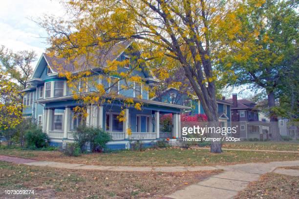 Blue houses Autumn color Potwin City Topeka Kansas