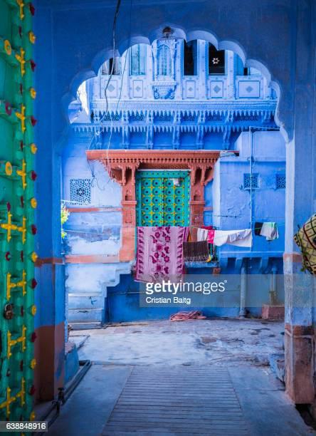 blue houses jodhpur rajasthan india - rajastão imagens e fotografias de stock