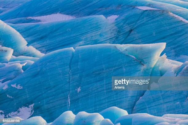 Blue ice formations on Svinafellsjokull arm of the Vatnajokull Iceland's largest glacier in winter