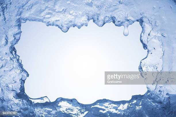 Blue ice framing blank pale blue background