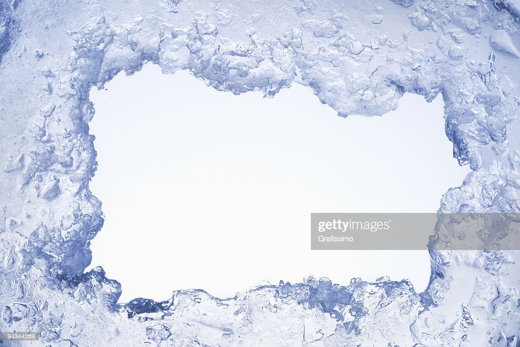 Blue ice framing blank pale blue background : Stock Photo