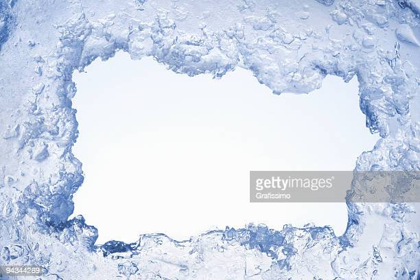blue ice framing blank pale blue background - ice stock pictures, royalty-free photos & images