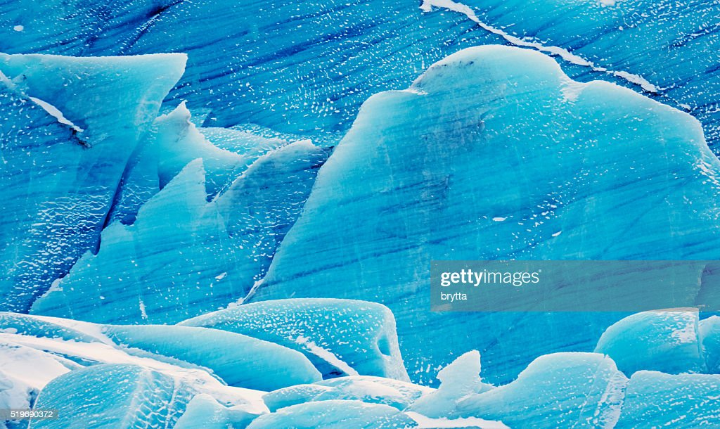 Blue ice of Svinafell glacier in southeast Iceland : Stock Photo