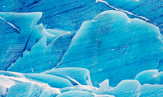 Blue ice of Svinafell glacier in southeast Iceland 519690372