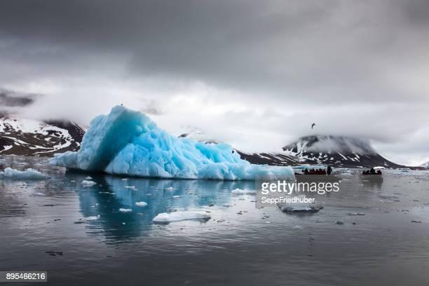 Blue iceberg floating in the Hornsund Spitzbergen